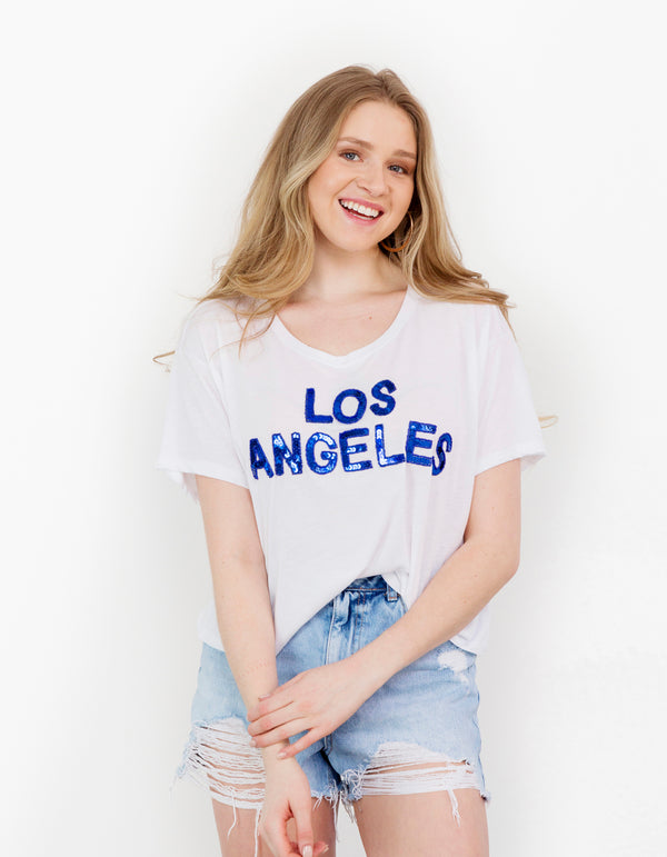 Los Angeles White Cropped Tee