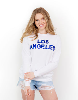 White Los Angeles Sequin Sweatshirt