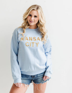 Light Blue Kansas City Sequin Sweatshirt