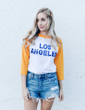Los Angeles 3/4 Sleeve Sequin Tee