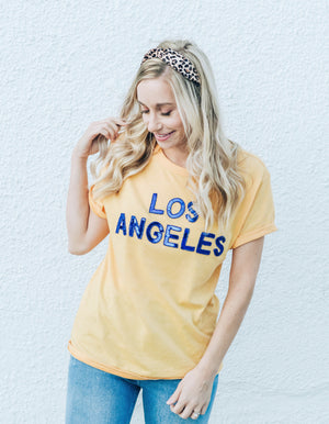 Los Angeles Gold Sequin Crew Tee