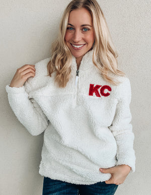 White KC Sequin Sherpa