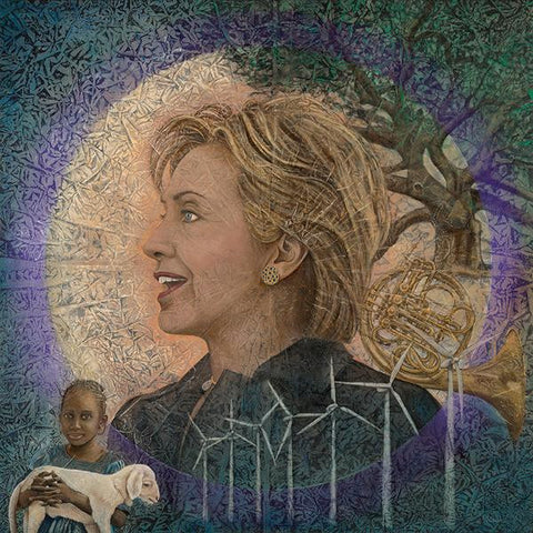Print of Kimberly Webber's Hillary, Portrait of the First Woman President