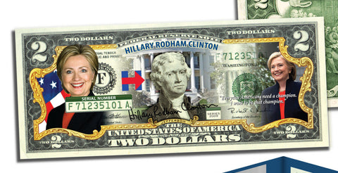Coins & Currency - Collectible Genuine Hillary $2 Bill