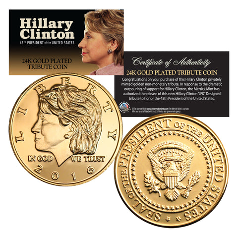 Coins & Currency - Hillary Clinton 2016 24K Gold Plated Medallion