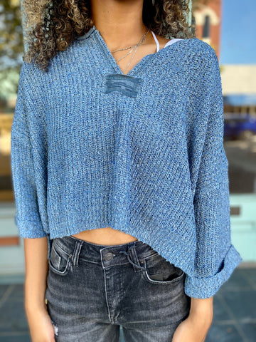 Falling For You Sweater Blue