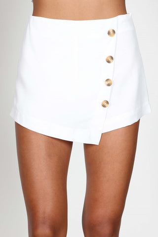 White Skort Button Detail