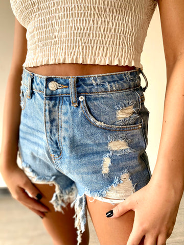 Take It Or Leave It Shorts- Light Wash