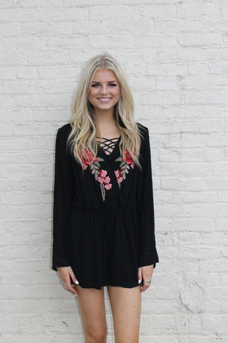 Black Long Sleeve Embroidered Romper
