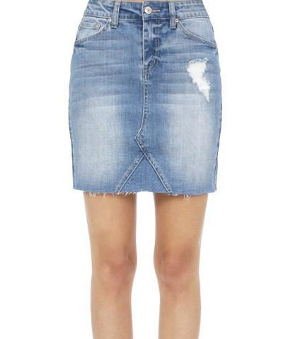 Blue Denim Distressed Skirt