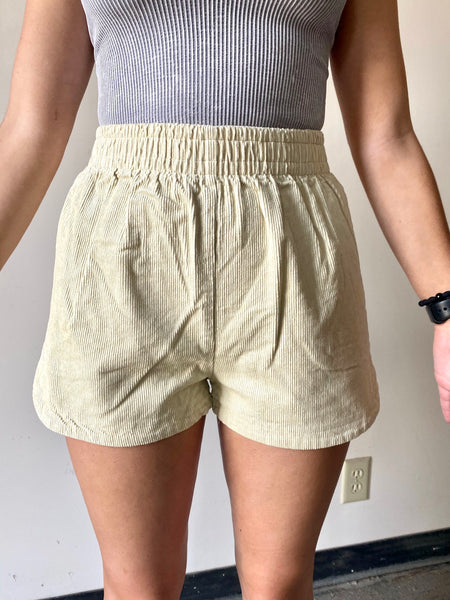 Done With It Corduroy Shorts- Oat