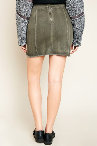 High Waist Denim Skirt - Olive