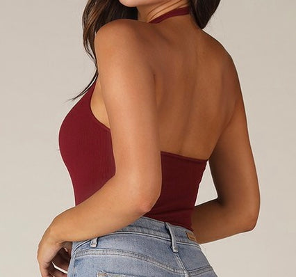 Standing By Halter Top - Wine
