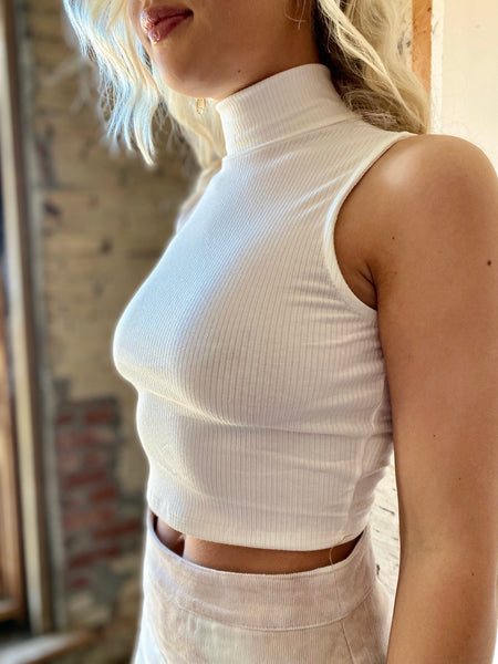 Run Away Mock Neck Top - White
