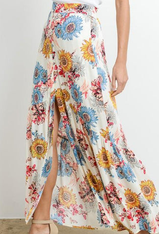 Sunflower Maxi Button Down Skirt