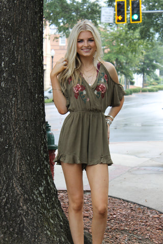 Cold Shoulder Embroidered Romper