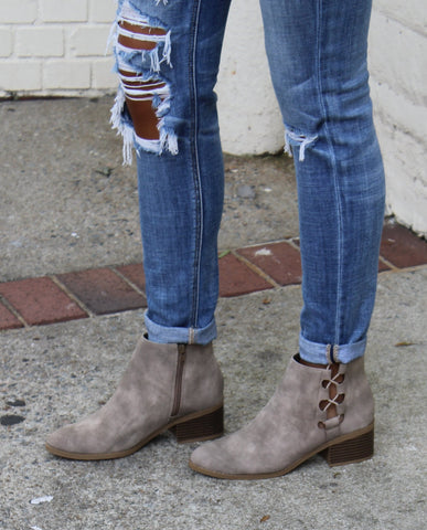 Laced Detail Ankle Booties
