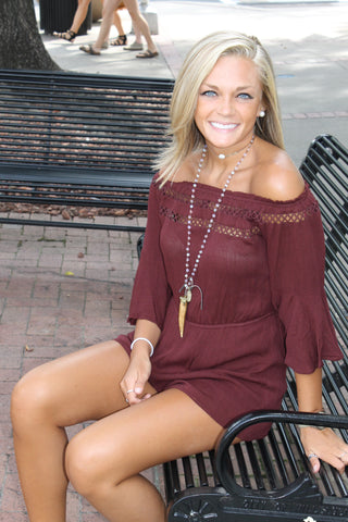 Wine Off Shoulder Romper
