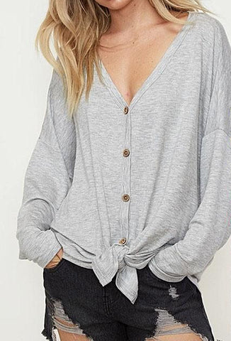 Button Down Tie Top - Gray