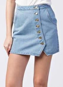High Waisted Button Detailing Skirt - Blue
