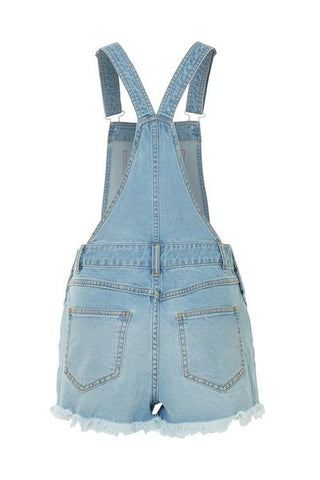 Frayed Overalls- Blue