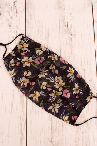 Face Mask -  Black Floral Print