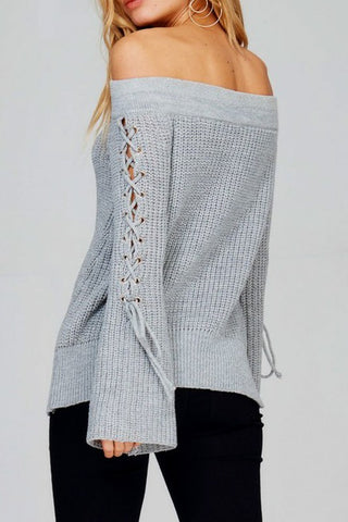 Flare Sleeve Off Shoulder Sweater