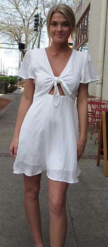 Peekaboo White Dress (lined)