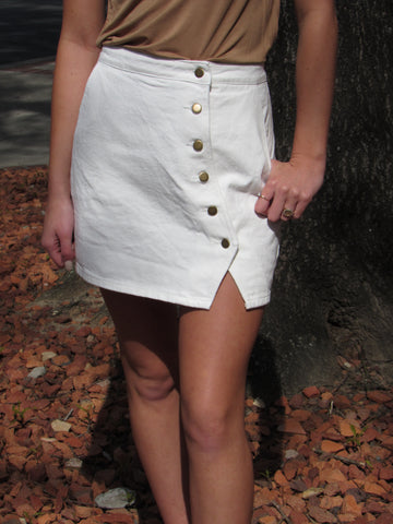 High Waisted Button Detailing Skirt - White