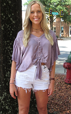 Button Down Front Tie Top - Purple