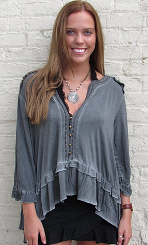 Button Down Mineral Wash Top