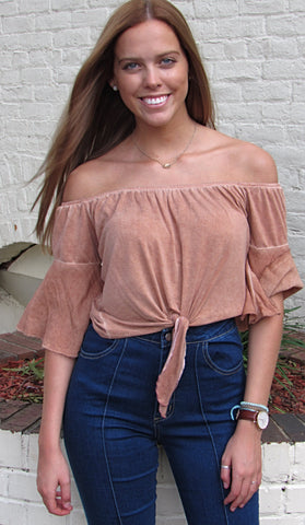 Off Shoulder Tie Top - Brick