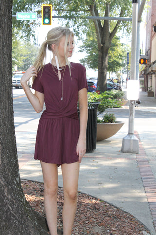 Plum Romper Wrap Detail