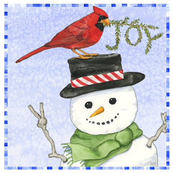 Peace Snowman Watercolor Art Tile