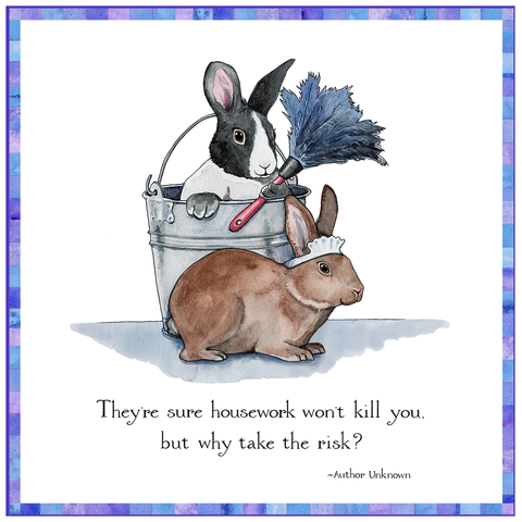 Housework Bunnies Watercolor Art Tile