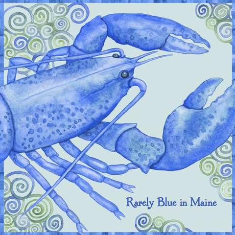 "Blue Lobster 4"" x 4"" Watercolor Art Tile"
