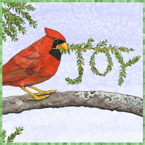Joy Cardinal Watercolor Art Tile