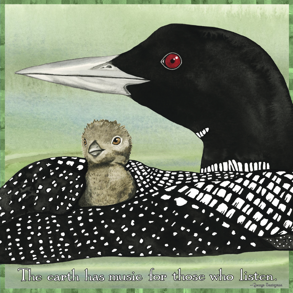 "Loon Music 4"" x 4"" Watercolor Art Tile"