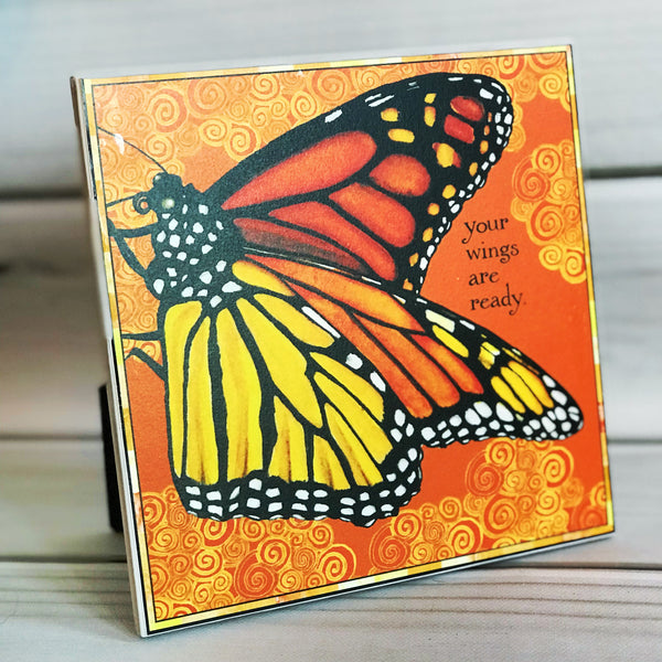 "Monarch  4"" x 4"" Watercolor Art Tile"