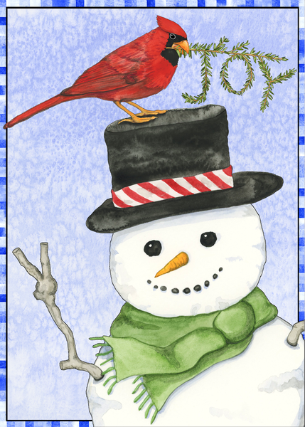 Joy Cardinal and Peace Snowman Holiday Greeting Card