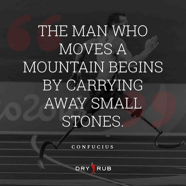 fitness quote - man moves mountain carry small stones