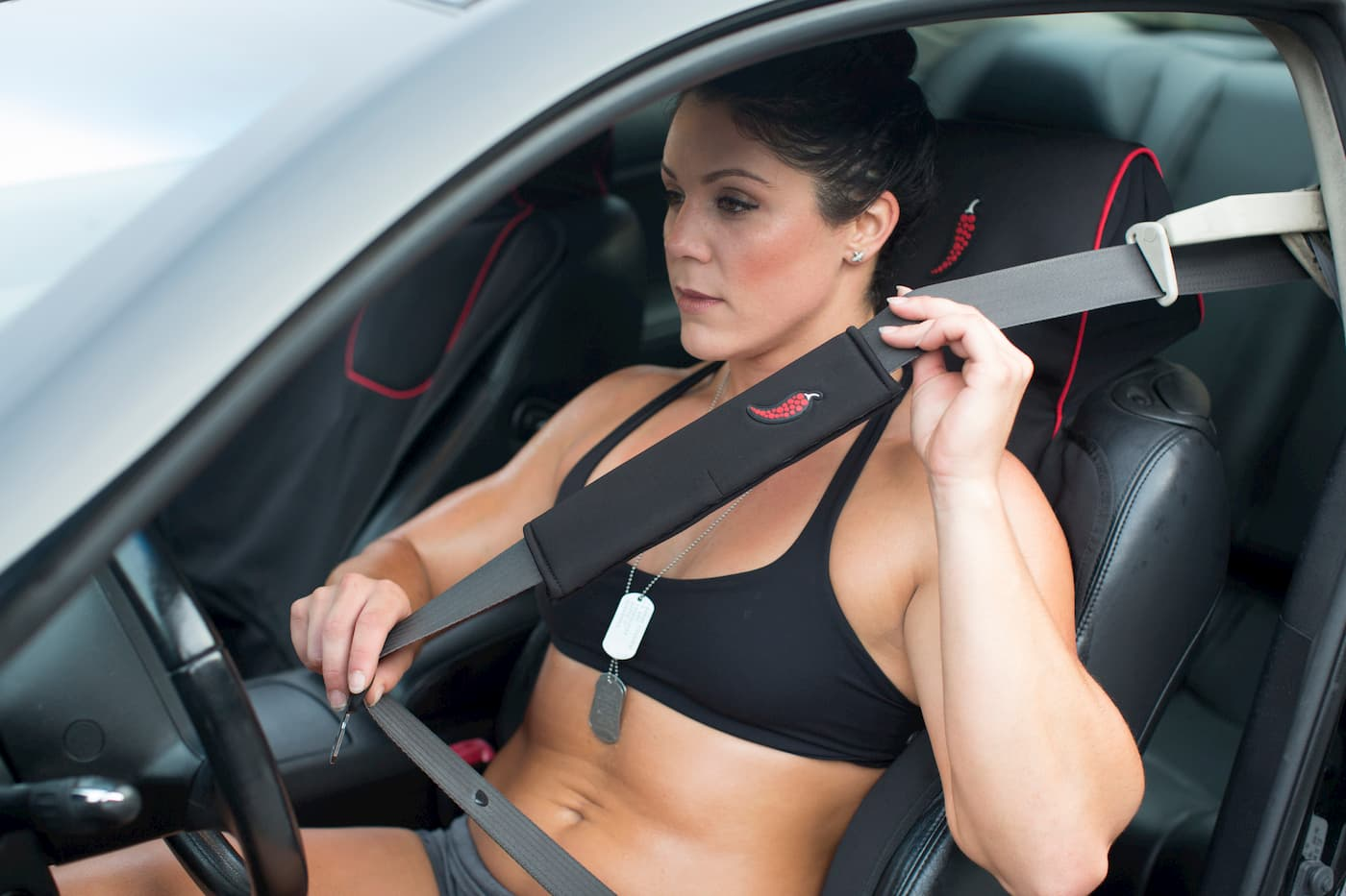 anti-sweat car seat cover and seat belt cover - kim lawrance athlete