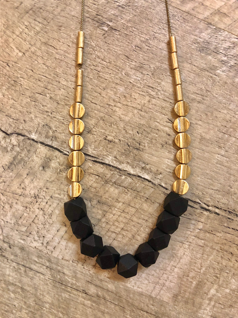 Geo Wood Bead Necklace - Black - Gracie James Clothing