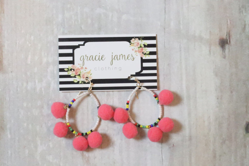Beaded Pom Earring - Gracie James Clothing