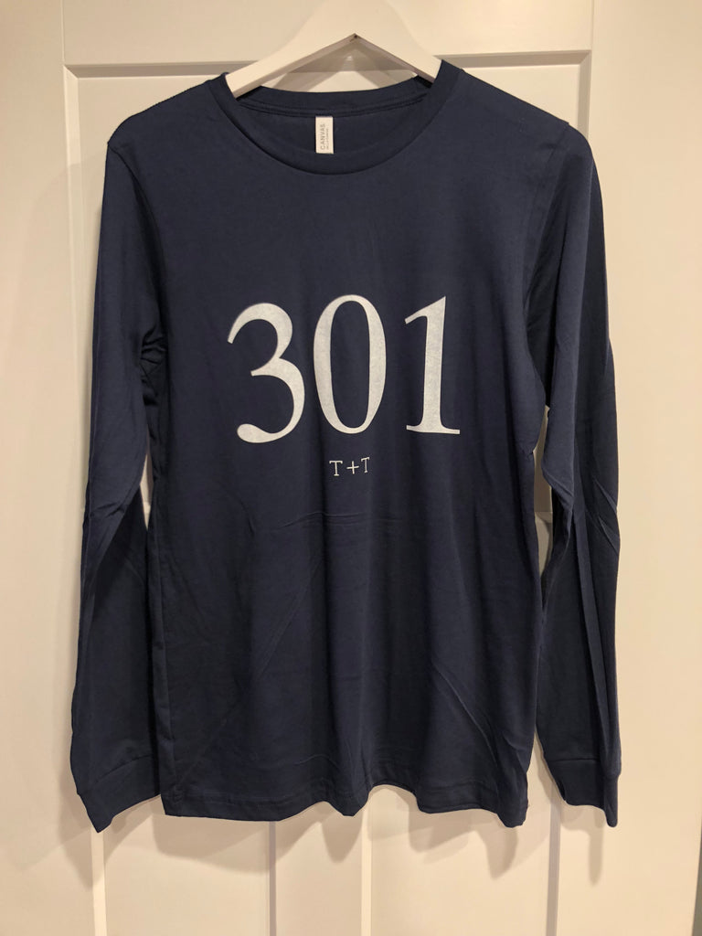 301 Area Code Tee - Long Sleeve Navy - Gracie James Clothing