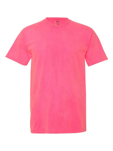 NEON PINK - Garment Dyed Heavyweight Ring spun Short Sleeve Shirt - Vivid Sportswear