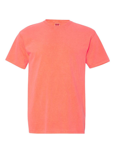 NEON ORANGE RED - Garment Dyed Heavyweight Ring spun Short Sleeve Shirt - Vivid Sportswear