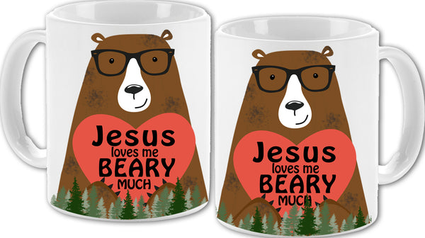 Jesus Loves Me Beary Much Mug 11oz - Vivid Sportswear