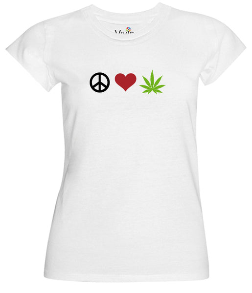 Peace Love and Weed T-Shirt - Vivid Sportswear