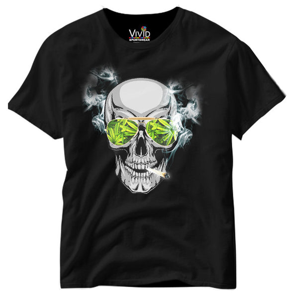 Adults Cool Skull Smoking Joint T-Shirt - Vivid Sportswear